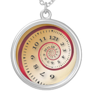 Infinite clock silver plated necklace