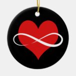 Infinite Heart Double-Sided Ceramic Round Christmas Ornament