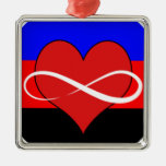 Infinite Heart with Flag Square Metal Christmas Ornament