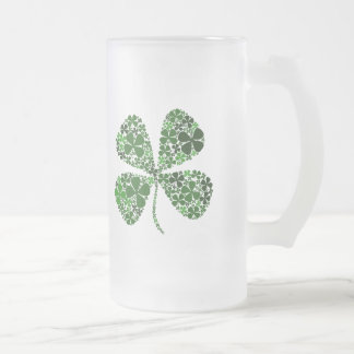 Infinite Luck 4-leaf Clover Frosted Glass Beer Mug