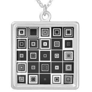 Infinite Squares Silver Plated Necklace