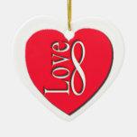 Infinito del amor, personalizado ornamento para arbol de navidad
