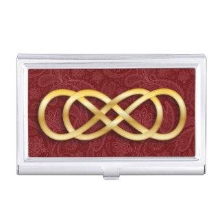 Infinito doble 12 - tenedor de la tarjeta de caja de tarjetas de negocios