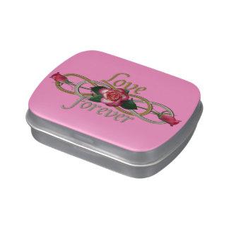 Infinito doble - amor de los rosas para siempre latas de dulces