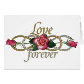 Infinito doble - amor de los rosas para siempre tarjeta de felicitación