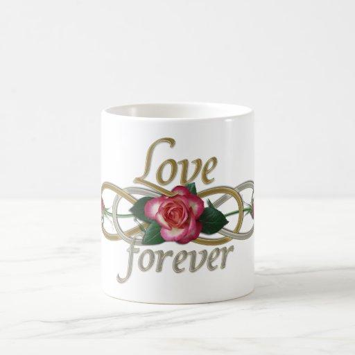 Infinito doble - amor de los rosas para siempre taza básica blanca