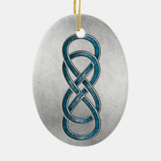 Infinito doble Aqua2 veteado Cloisonne - ornamento Adorno Ovalado De Cerámica