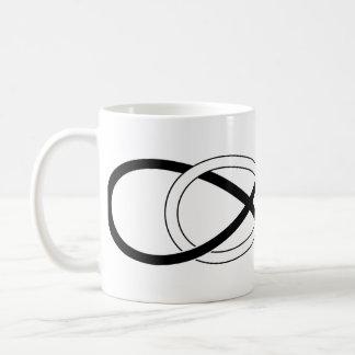 Infinito doble del símbolo - negro y blanco taza clásica