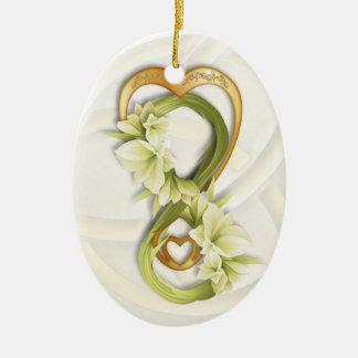 Infinito doble en el corazón y Cowlilies - 1 del o Ornamento De Navidad