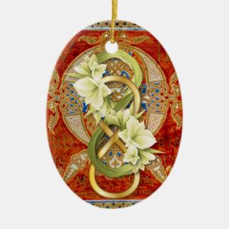 Infinito doble en el oro con Cowliliy - ornamento Adorno Navideño Ovalado De Cerámica