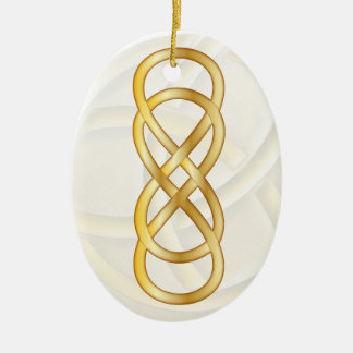 Infinito doble en oro en blanco adorno ovalado de cerámica