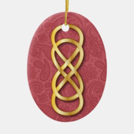 Infinito doble en oro en el rosa 2 adorno ovalado de cerámica