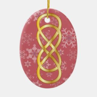 Infinito doble en oro y copos de nieve en rosa ornaments para arbol de navidad