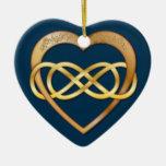 Infinito doble entrelazado de los corazones - oro  ornamentos de reyes