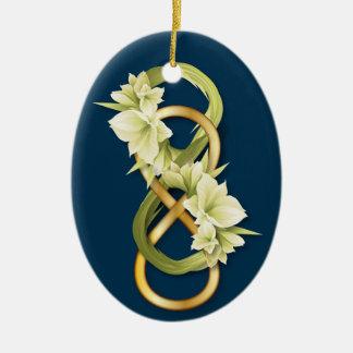 Infinito-Oro doble y Cowlily-en azul profundo Ornamento Para Arbol De Navidad