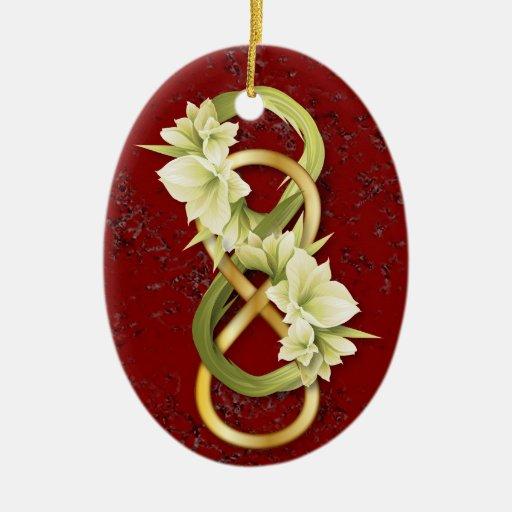 Infinito-Oro doble y mármol Cowlily-Rojo 2B Ornamentos Para Reyes Magos