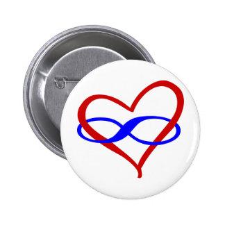 Infinito polivinílico del corazón pin redondo 5 cm