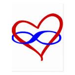 Infinito polivinílico del corazón tarjetas postales