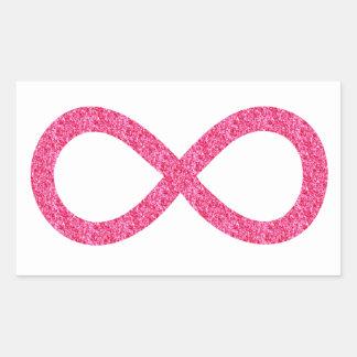 Infinito rosado de la chispa pegatina rectangular