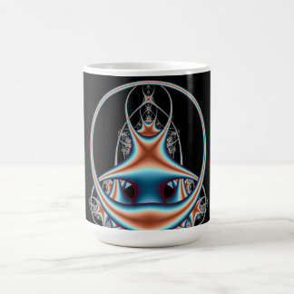 Infinity Abstract Art Fractals Blue Orange Circles Mugs