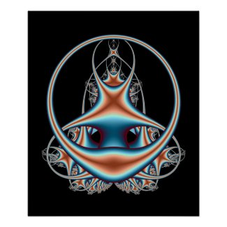 Infinity Abstract Fractal Art Blue Orange Circles Poster