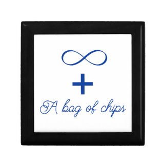 Infinity and a bag of chips. gift box