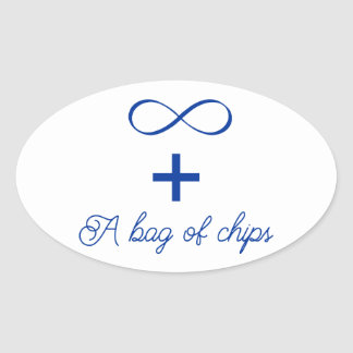 Infinity and a bag of chips. oval sticker