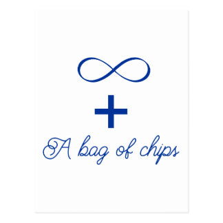 Infinity and a bag of chips. postcard