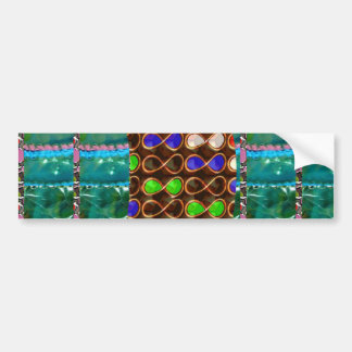 Infinity ART on Emerald Green CRYSTAL Stone Base Bumper Stickers