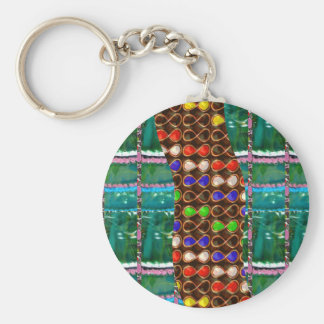 Infinity ART on Emerald Green CRYSTAL Stone Base Keychain