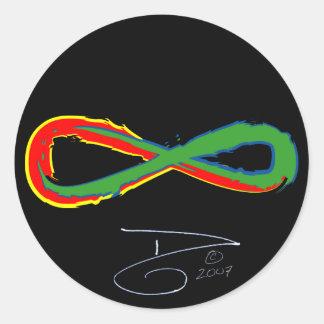 infinity, blue-white sig 2007 round sticker