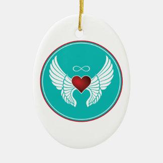 Infinity Flying Heart Ceramic Ornament