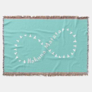 Infinity Hakuna Matata - Teal Blue and White Throw Blanket