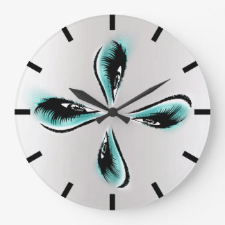 Infinity Lashes Crown Blue Gray Black Glitter Large Clock