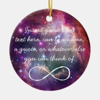 Infinity loop and galaxy space hipster background ceramic ornament