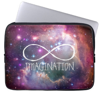 Infinity loop and galaxy space hipster background computer sleeve