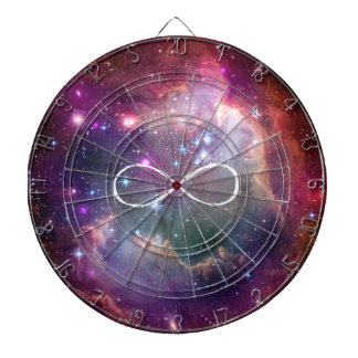 Infinity loop and galaxy space hipster background dart board