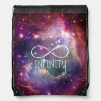 Infinity loop and galaxy space hipster background drawstring backpack