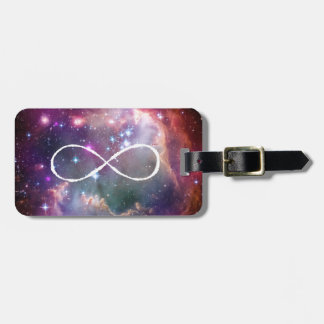 Infinity loop and galaxy space hipster background bag tags