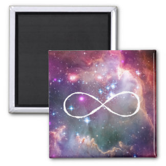 Infinity loop and galaxy space hipster background 2 inch square magnet