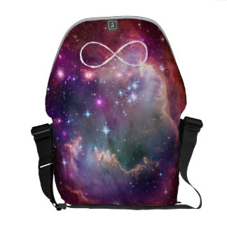 Infinity loop and galaxy space hipster background courier bags