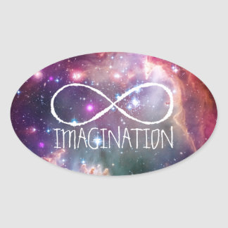 Infinity loop and galaxy space hipster background oval sticker