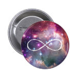 Infinity loop and galaxy space hipster background pins
