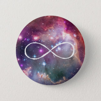 Infinity loop and galaxy space hipster background pinback button