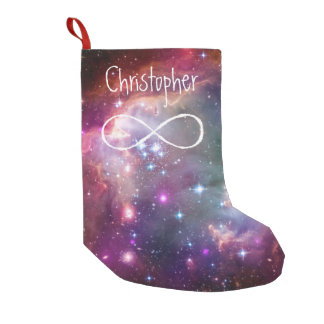 Infinity loop and galaxy space hipster background small christmas stocking