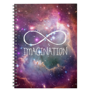 Infinity loop and galaxy space hipster background spiral notebook