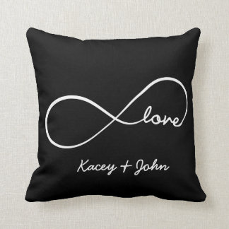 Infinity Love - black and white Throw Pillows