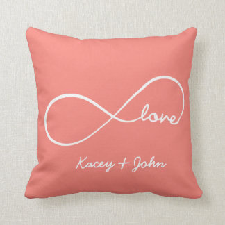 Infinity Love - Coral Pink Throw Pillow
