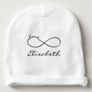 Infinity Love Lemniscate black + your backgr. Baby Beanie