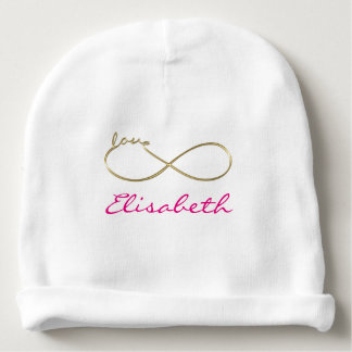 Infinity Love Lemniscate gold + your backgr. Baby Beanie